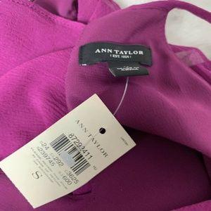 Ann Taylor Tops - NWT Ann Taylor Purple Ruffled Small S Silk Racer